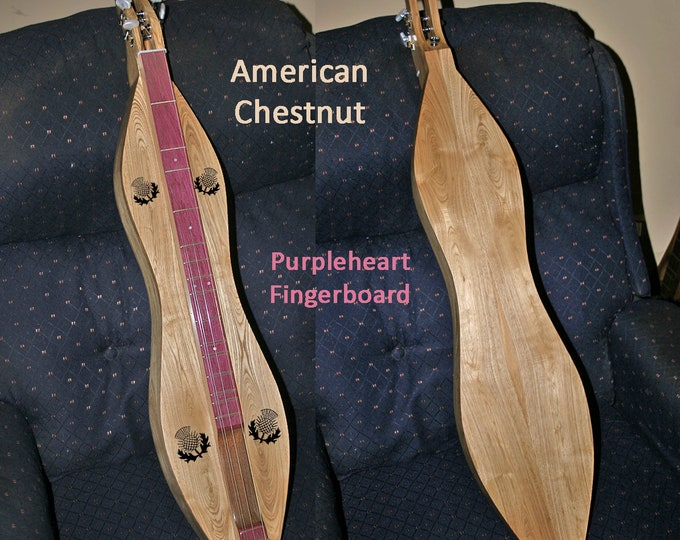 New American Chestnut 4-string Mountain Dulcimer, Purpleheart fretboard, with optional Electric.
