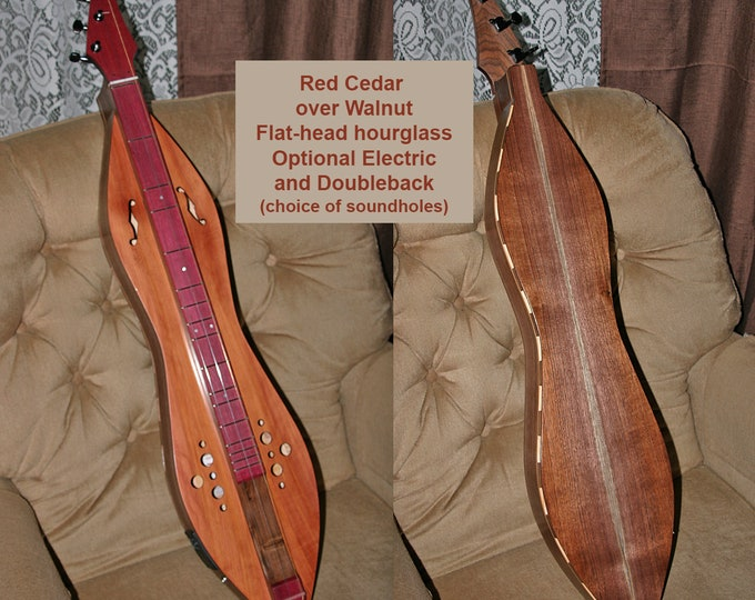 Red Cedar over Walnut Flat-head Hour-glass Mountain Dulcimer. Available options; Electric, and Baritone, Bass, or Double-back. Item# RCW004b