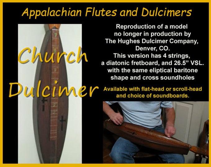 Church Dulcimer, 4-string, Eliptical Baritone Shape, with optional Electric. Item# CD001