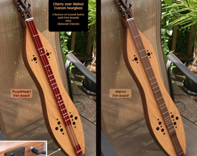 Custom Cherry over Walnut 4-string Hour-glass Mountain Dulcimer. Optional Fret-board, Electric, and sound-hole choices. Item# CW008