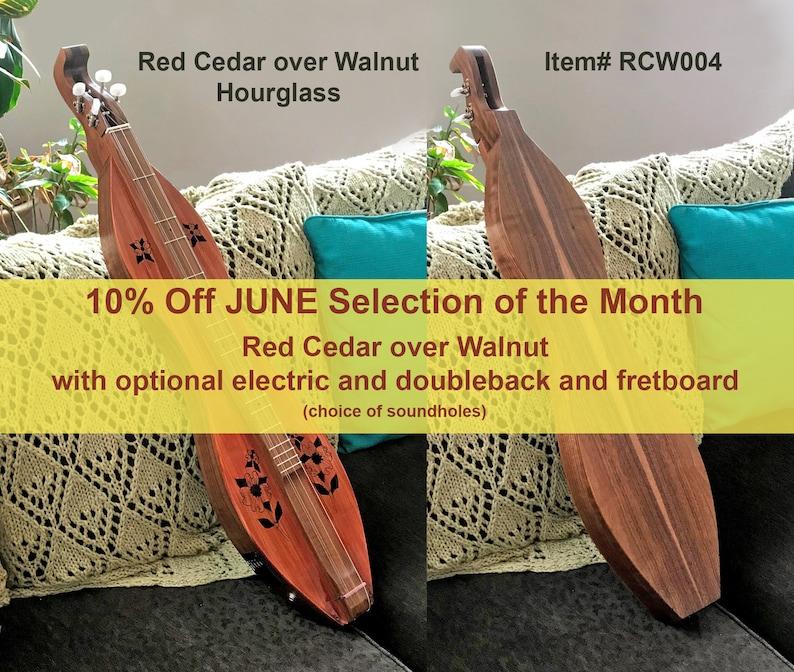 Red Cedar over Walnut 4-string Hour-glass Mountain Dulcimer. image 0