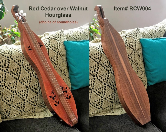 Custom Red Cedar over Walnut 4-string Hour-glass Mountain Dulcimer. Optional: Fret-board, Electric, and Double-back. With Case. Item# RCW004