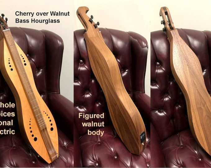 New Bass Hourglass Dulcimer 3 or 4 string Walnut with Soundboard, Fretboard, and Optional Electric: Item# BASSHG001