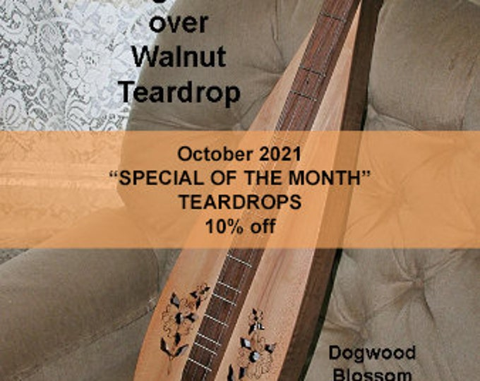 Dogwood over Walnut Tear-drop Mountain Dulcimer, with optional Electric, and Double-back and Soundboard choices.. Item# DW005