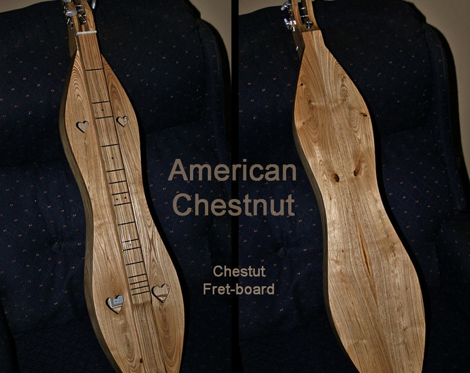 Rare American Chestnut 4-string Mountain Dulcimer. Available Options; Fret-board, Electric, and Sound-holes. With Case. Item# CSCS013