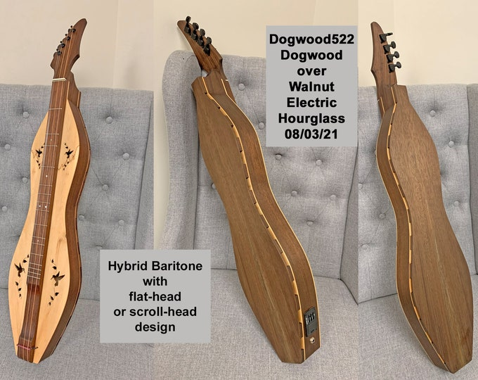 New design Baritone Mountain Dulcimers, Hybrid Baritone Doubleback, with Custom Case and Optional Electric, and soundboards. Item# Baritone