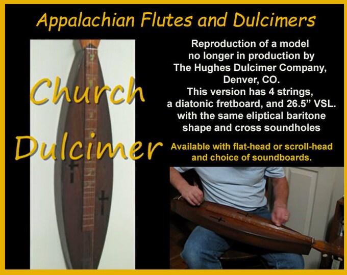 New Church Dulcimer, 4-string, Eliptical Baritone Shape, with optional Electric. Item# CD001