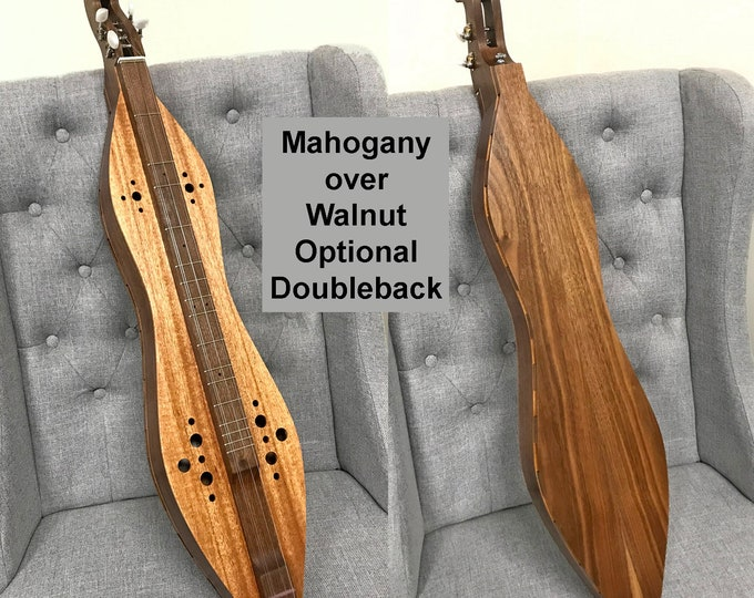 Mahogany Over Walnut 4-string Hour-glass Dulcimer with Sound-hole Choices and optional Electric, and Doubleback, with case: Item# MHG001