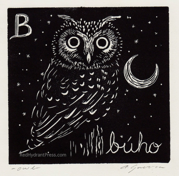Owl B Is For Buho Spanish Alphabet Linocut Etsy