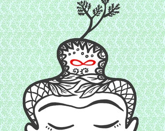 BUDDHA sprout and infinity (illustration 15x18 cm)