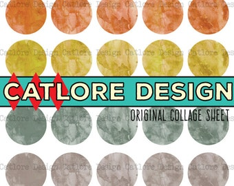 """1.5"""" Earthtone Circles #01 - Watercolor Texture Round Digital Collage Sheet for Scrapbooking and Stamping"""