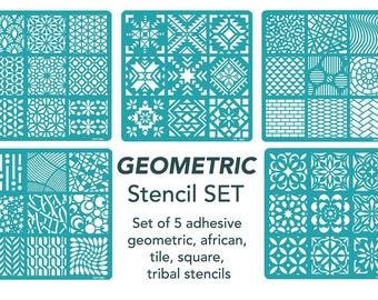 Stencils, Stencil Set, Painting Stencil, Craft Stencil, Art Stencil, Tile Stencil, Wall Stencil, Tribal Stencil, Geometric, African, Small