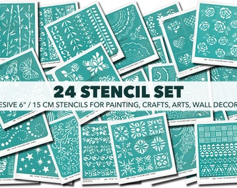 Stencil for Painting, Set of 24, Adhesive Stencil, Stencil for Furniture, Stencil for Craft, Canvas, DIY, Stencil for Art, Fabric, Scrapbook