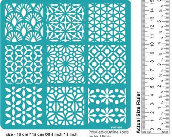 Stencil for Painting, Stencil for Wall Painting, Art Stencil, Wall Stencil, Flower Stencil, Tile Stencil, Small Stencil, Adhesive, Geometric