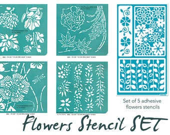 Flower Stencil, Adhesive Stencil, Stencil Set, Stencil for Painting, Stencil for Art, Craft, Canvas, Glass Etching, DIY, Fabric, Ceramics