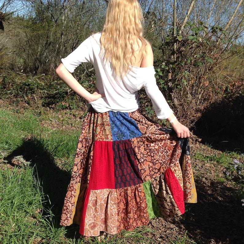 Handmade boho Patchwork skirt Twirly Men Unisex Indian Block Print One Size Fits All Cotton Plus size festival Women