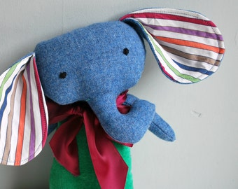 Elephant Plushie in Green Velveteen and Blue Tweed - Plush Stuffed Animal - Upcycled - Rustic - Cuddly - Colorful - Babar - Folk