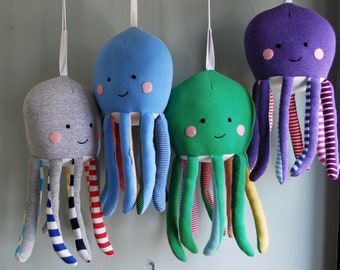 Octopus Plushie with Striped Rainbow Arms - made from recycled t-shirts - Stuffed Animal - Upcycled - Ecofriendly Toy - Stuffie - Mobile