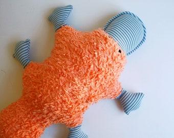 Organic Orange Platypus Plushie- made from Organic Cotton Fleece- Stuffie - Plush - Stuffed - Upcycled - Ecofriendly Toy - Australia - Soft
