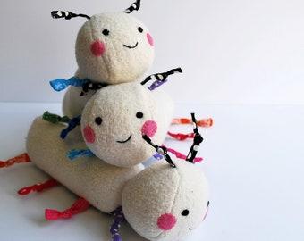 Cheery Caterpillar Baby Plush Toy - Organic Cotton  - Soft - Plushie - Stuffed Toy - Eco-Friendly - Sweet - Interactive - Rainbow - Comfort