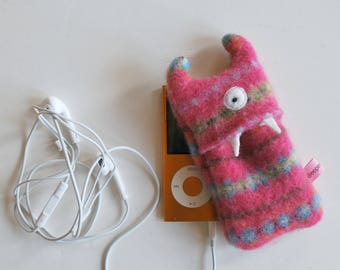 Pink Fairisle Monster iPod Nano or Shuffle Cozy - iPod Case - Monster - Wallet - Eco-friendly - Upcycled - Coin Purse
