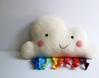 Large Happy Rainbow Cloud Plushie - Organic Cotton - Throw Pillow - Soft - Stuffie - Stuffed Toy - Ecofriendly - Sweet - Colorful - Softie