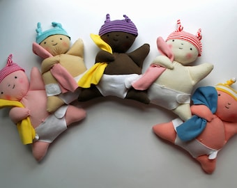 Mooshy Belly Baby Dolls - Eco-Friendly - Recycled - First Doll - Washable - Play - Set - Doll Clothes - Sweet - Soft - Rag Doll - Diaper