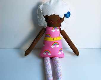 Cloudy Chloe Doll - Rainbow - Sunshine - Clouds - Diverse - Black - Brown Skin - Unique - Dolls - Art Doll - Pink - one of a kind