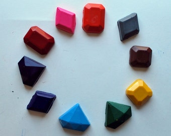 10 Jewel Molded Crayons Made from Recycled Crayons - Set - Rainbow - Gem Stones - Pretend Create Play - Coloring - Stocking Stuffer - Girls