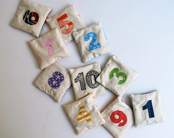 Counting Bean Bags - Numbers - 1-10 - educational - game -math - rainbow - learn to count - Montessori - school - preschool - toddler toy