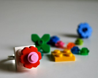 SALE BOGO Play Day Ring made with recycled Legos- Build Your Own Jewelry - Custom - Flower - Create Pretend Play - Upcycled - Tween - Geek