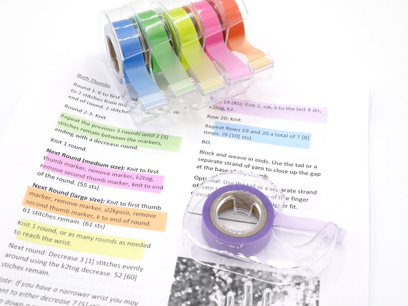 Highlighter Tape - Removable tape for marking pattern lines, knitting  charts, project notes, and bullet journals