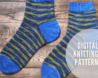 This or That, Socks with Options - Top Down Sock Knitting Pattern w/ribbing, heel, and toe options - tutorial links incl'd - PDF Pattern