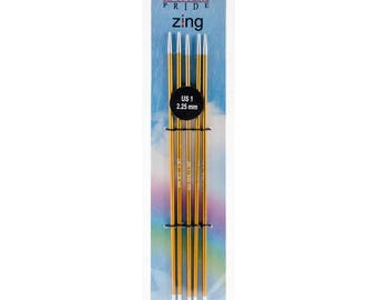 """Size 1 (2.25 mm) Knitters Pride Zings 6"""" Double Pointed Knitting Needles DPNs"""