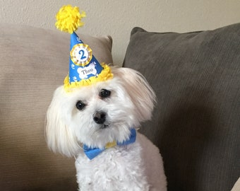 Dog Birthday Hat or Crown and Matching Dog Bow Tie Set Personalized, Pet Supplies, Puppy Party Outfit Photo Props