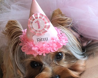 Girl Dog Birthday Hat Personalized, Custom Pet Supplies, Puppy Party Decorations Photo Prop, Gotcha Day Gift