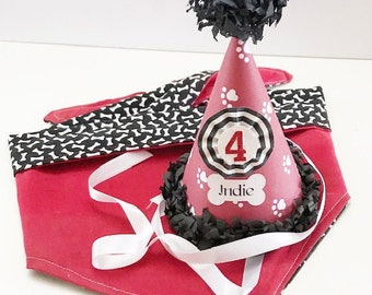 Dog Party Hat and Matching Bandana, Personalized Reversible Bones or Paws, Pet Birthday Supplies, Puppy Gotcha Day Celebration