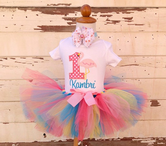 Flamingo Tutu Outfit 1st Birthday Girl Personalized Cake Smash Set Bodysuit Sewn Headband Baby