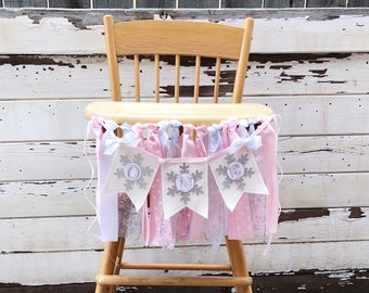 Girl Winter ONEderland Highchair Ribbon Fabric Banner Bunting, 1st Birthday, Snowflake Party, High Chair Decor, Snowflake Garland, Pink
