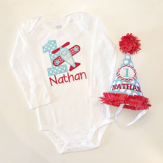 6e2aa8e1a Airplane 1st Birthday Bodysuit Shirt and Party Hat Set, Red and Aqua,  Personalized Baby Boy Airplane Birthday, Airplane Party, Photo prop