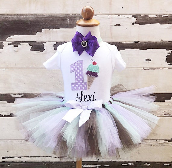 3ee47639 Ice Cream Cone Tutu Set, 1st Birthday Outfit, Sweet Shoppe, Purple Mint  Brown, Personalized Bodysuit, Sewn Tutu, Headband, Cake Smash Set