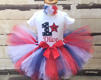Patriotic Tutu Outfit, 1st Birthday Set, 4th of July, Red White Blue, Personalized Bodysuit, Sewn Tutu, Headband, Cake Smash Set, Baby Girl