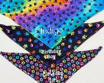 Rainbow Dog Bandana Personalized Reversible, Paw Print Themed, Birthday Girl or Boy, Pet Supplies, Gotcha Day Scarf, Puppy Party Photo Prop