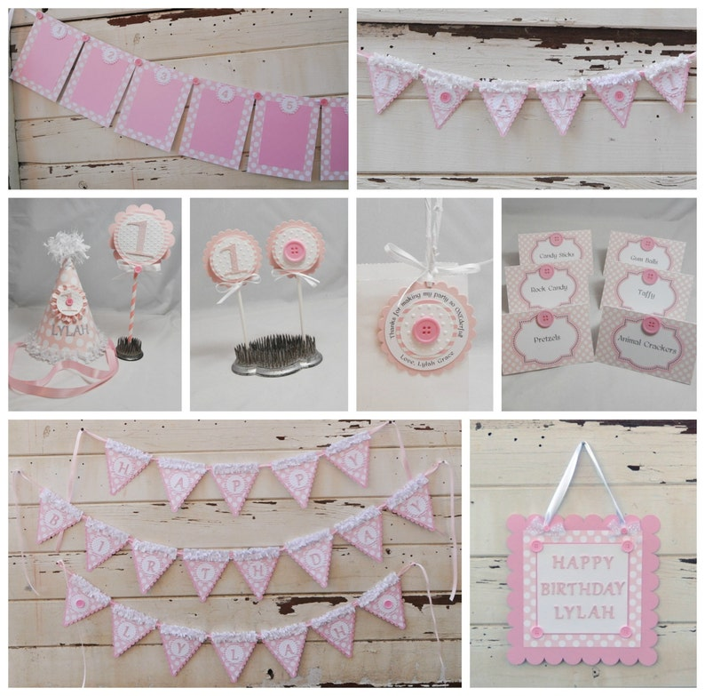 Girl 1st Birthday Cute as a Button Happy Birthday Banner with Name