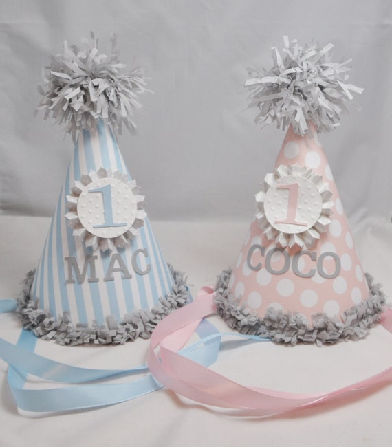 Boy Girl Twin Party Hats 1st Birthday Set