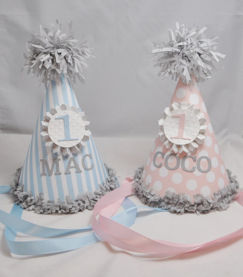 Boy Girl Twin Personalized Party Hats 1st Birthday