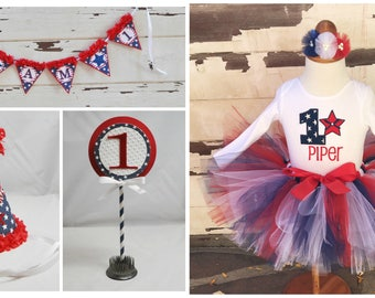 Patriotic Party Package, 1st Birthday Girl, Tutu Outfit, Personalized Party Hat, High Chair Banner, Cake Topper. Red, White, Blue