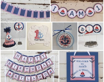 Nautical Party Package, 1st Birthday Boy, Personalized Party Hat, Birthday Banner, Door Sign, Favor Tags, Cake, Cupcake Toppers, Bodysuit