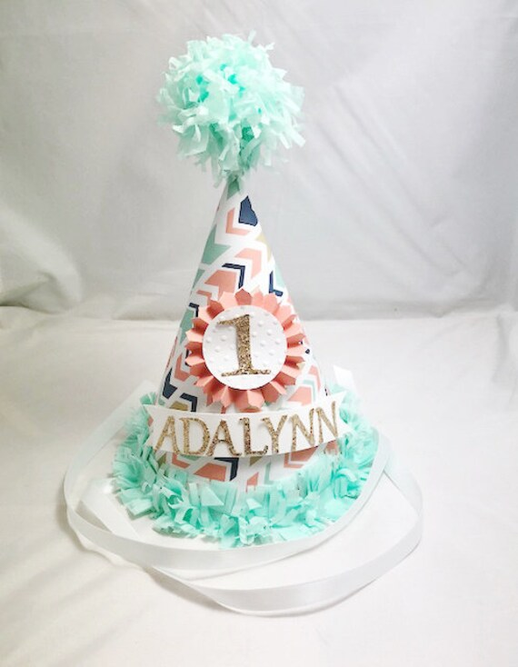 Wild ONE 1st Birthday Party Hat Tribal Arrow Coral Mint Gold