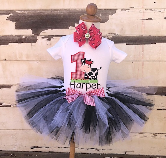 8d77f069b Farm Tutu Outfit, 1st Birthday Tutu Set, Cow Outfit, Farm Birthday Party,  Personalized Bodysuit, Sewn Tutu, Headband, Baby Girl Cake Smash